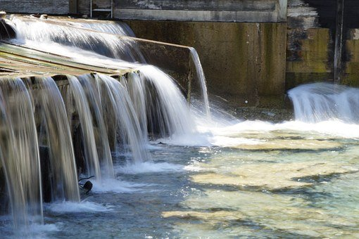 Barrage, Waterworks, Flow, Water, Movement, Overflow