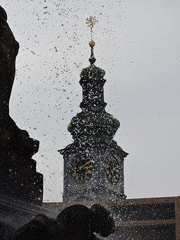 Fountain, Czech Budejovice, Water, Tower, Town Hall