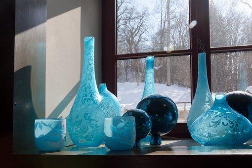 Glasses, Blue, Decoration, Reflection, Window, Glass
