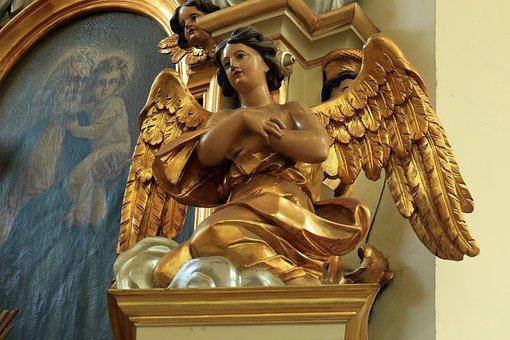 Angel, Church, The Altar, The Figurine, Gold