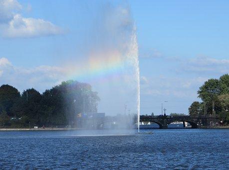 Hamburg, Alster, Fountain, Rainbow, Lombard Bridge