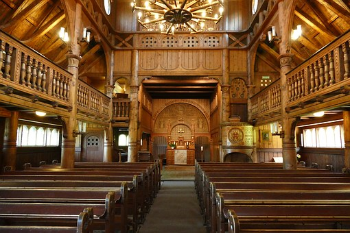 Nave, Interior, Benches, Altar, Stave Church