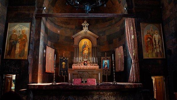 Church, Altar, Interior, Curtain, Candles, Khor Virap