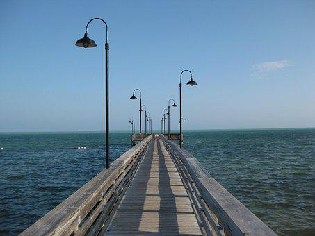 Florida, Coast, Bridge, Water, Sea, Getaway, Lamp
