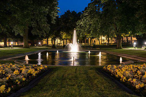 Game Bank, Aachen, Fountain, Night, Lighting, Park