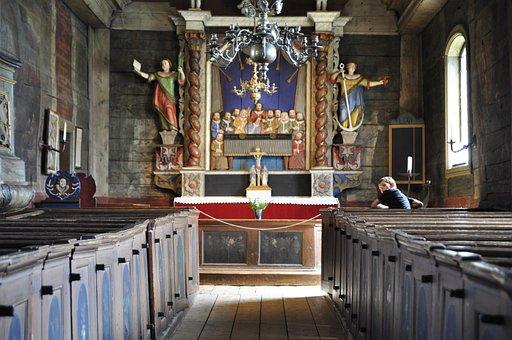 Lund, Sweden, Museum, Church, Wood, Statue, Altar