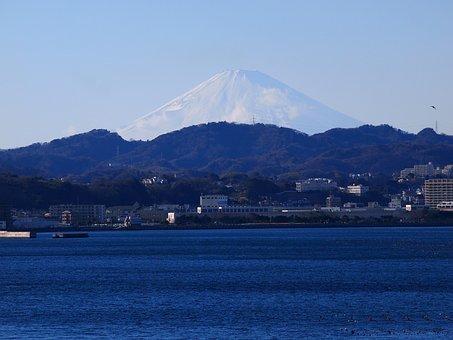 Fuji, Mt Fuji, Mabori Kaigan, Sea, Mountain, Tokyo Bay