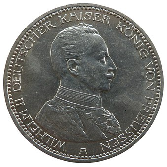 Mark, Prussia, Wilhelm, Coin, Currency, Numismatics