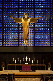 Memorial, Church, Modern, Altar, Gold Cruciform Christ