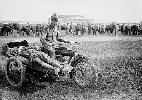 Soldiers, Motorcycle, Military, Vintage, Army