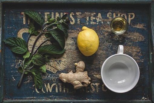 Tea, Honey, Lemon, Ginger, Mint, Above, Herb, Herbal