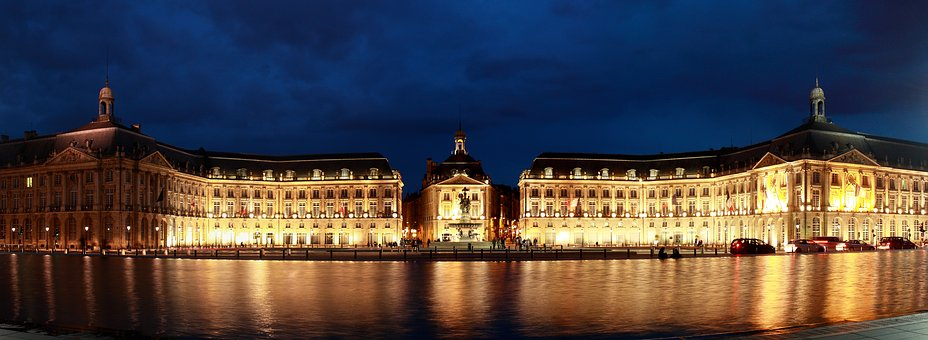 Bordeaux, Gironde, Mirror Of Water, Night, Lights, City