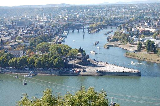 German Corner, Koblenz, Rhine, Mosel, Sachsen, Monument