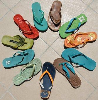 Flip Flops, Multi Colored, Summer, Flip-flop, Blue