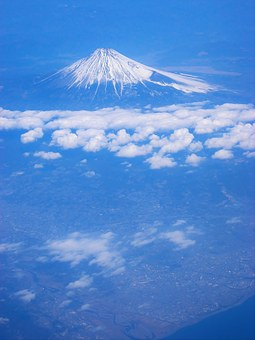 Mt Fuji, Aerial Photograph, Cloud, Blue, Navy Blue