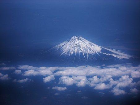 Mt Fuji, Aerial Photograph, Cloud, Blue, Navy Blue