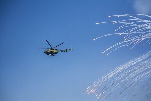 Helicopter, Shot, Missiles, Parade, Navy, Sky, Flight