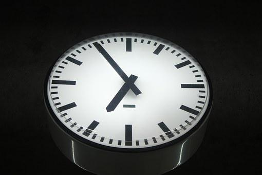 Time, Clock, Evening, Black, White, Night, Day, Seven