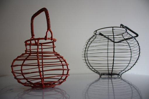 Egg Basket, Basket, Thread, Orange, Background