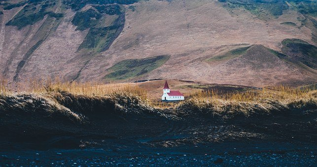 Churches, Mountains, Scenery, Steeples, Red Roof