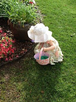 Easter, Eggs, Basket, Hunt, Girl, Holiday, Spring