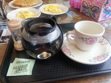 Breakfast, Hot Tea, Waffles, Scrambled Eggs, Stevia