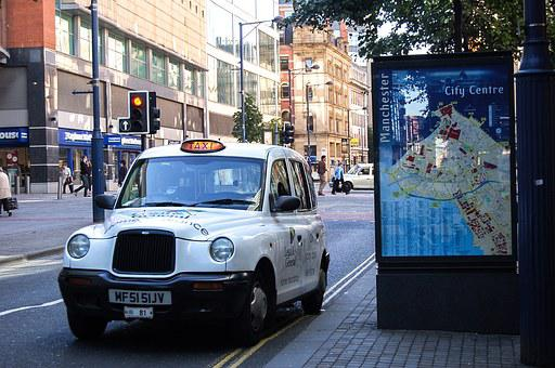 City, Inner City, Manchester, England, Taxi, Street