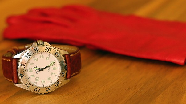 Clock, Wrist Watch, Time, Glove, Red, Table, Wood Board