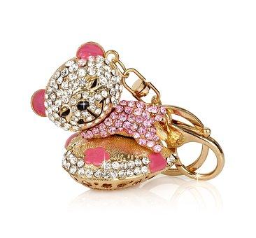 Teddy Bear, Key Ring, Keychain, Key Ring Pendant, Heart
