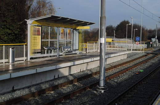 Tram, Stop, Station, Hollinwood, Manchester, Track