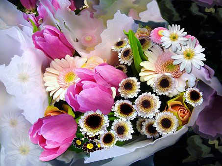 Bouquet Of Flowers, Bunch Of Flowers, Tulips, Spring