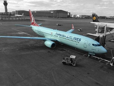 Airplane, Turkish Airlines, Manchester Airport