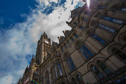 Manchester, Uk, Portico, City, Urban, England, British