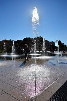 Water Jet, Fountain Mirror, Nice, Reflection