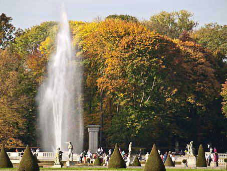 Park, Castle, Nature, Landscape, Water, Garden, Statues