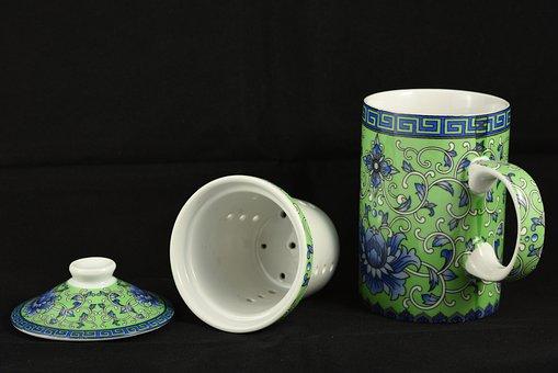Tea Set, Mug, Oriental, Cup, Tea Cup, White, Green