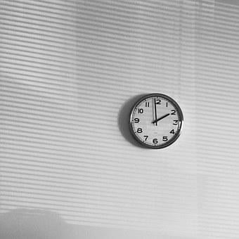 Wall, Clock, Time, White, Day, Office, Numbers
