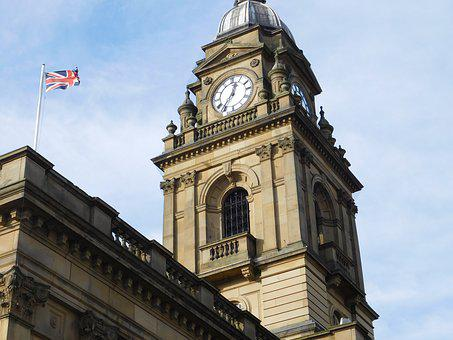 Morley, Town Hall, Clock Tower, Uk, Flag, Architecture