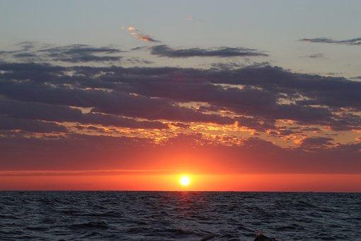 Ocean, Sunset, Yacht, Atlantic