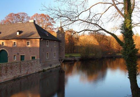 Castle, Pond, Moat, Autumn, Fortress, Building, Düren