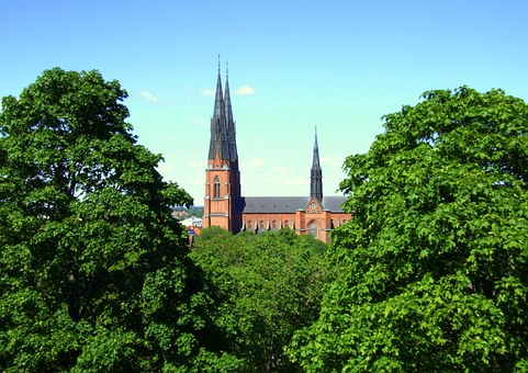 Uppsala, Sweden, Cathedral, Trees, Church, History