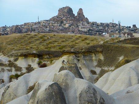 Uchisar, City, Tufa, Rock, Rock Apartments, Cappadocia
