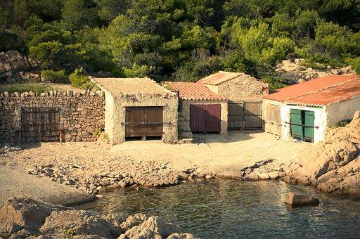 Mediterranean, Boat House, Coast, Steinig, Landscape