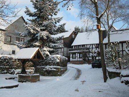 Fachwerkhäuser, Village Scene Winter, Wintry
