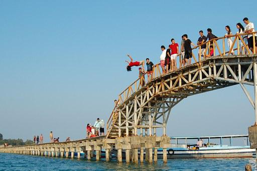 Jump, Summer, Fun, Happy, People, Young, Sea, Happiness
