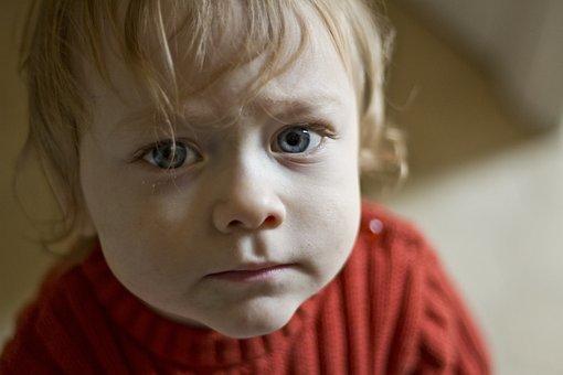 Baby, Blonde, Blue Eyes, Kid, Sad, Face, Portrait