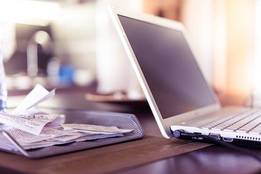 Computer, Desk, Electronics, Keyboard, Laptop, Papers