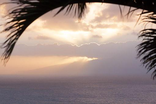 Sun, Clouds, Abendstimmung, Sea, Island, Mainland, Sky