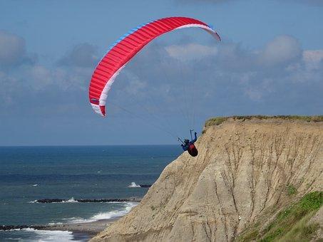 Paragliding, Wind, Sea, Beach, North Sea, Airy