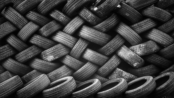 Pile, Tires, Rubber, Stacked, Used, Recycling